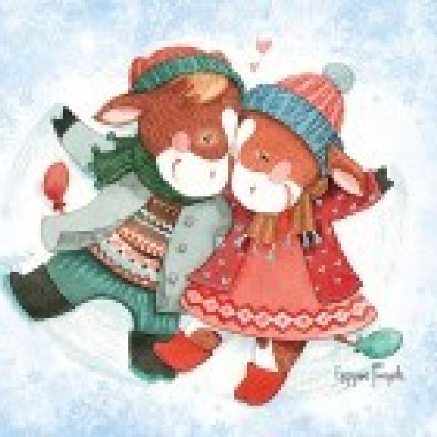 Ansichtkaart Liefde in de Sneeuw.