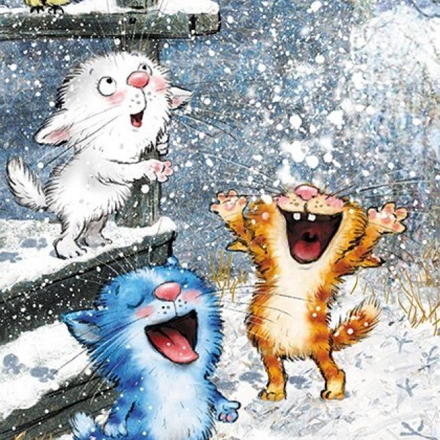 Ansichtkaart Blue Cat Kittens spelen in de Sneeuw.