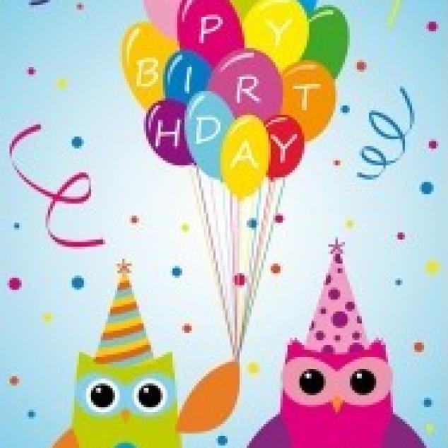 Ansichtkaart Uilen wensen je Happy Birthday.