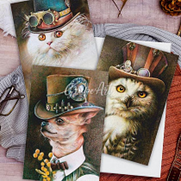 Ansichtkaarten set van 3 - Dieren met hoed.
