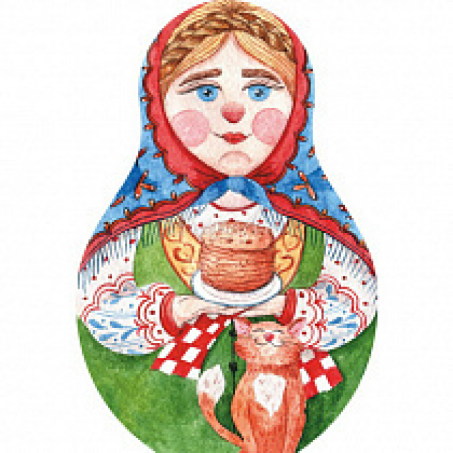 Ansichtkaart Matrouska, gestansd in vorm met pannenkoeken.
