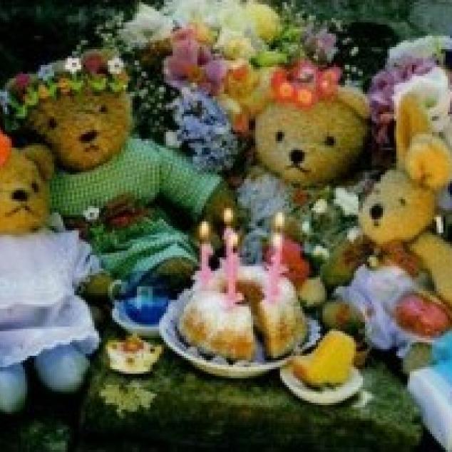 Wenskaart Teddyberen Feestje.