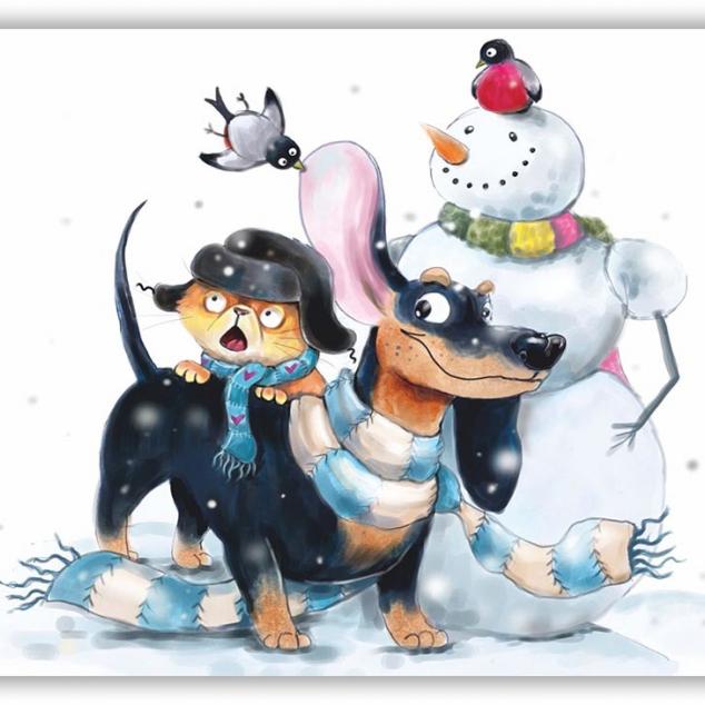 Ansichtkaart Teckel in de Sneeuw.