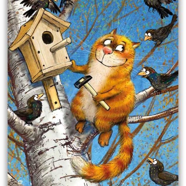 Ansichtkaart Vriend van Blue Cat timmert een Vogelhuisje.