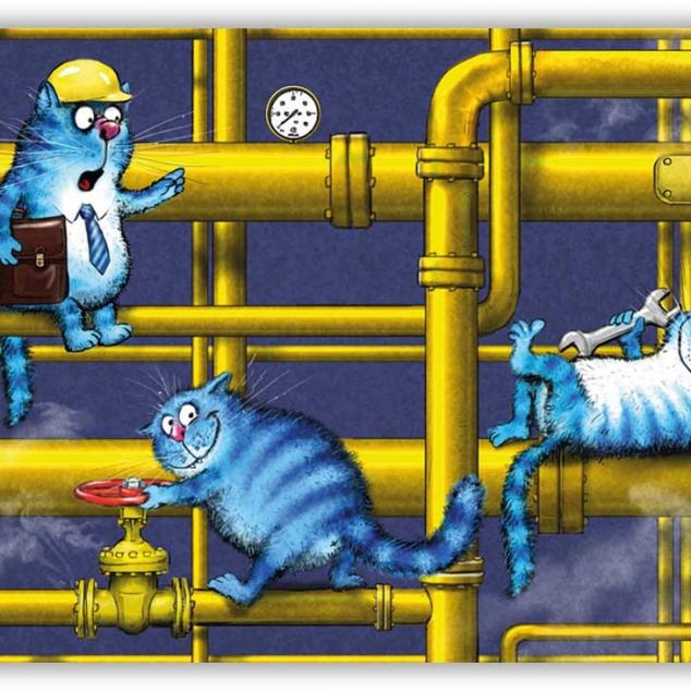 Ansichtkaart Blue Cat zijn Ploeg werkt aan leidingen.