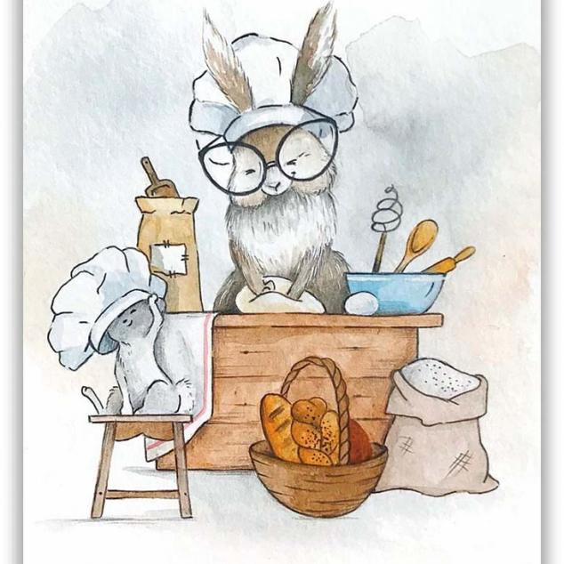 Ansichtkaart Mams Konijn bakt een Taartje.