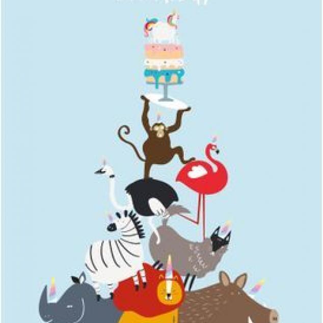 Ansichtkaart Happy Birthday en een stapel Dieren.