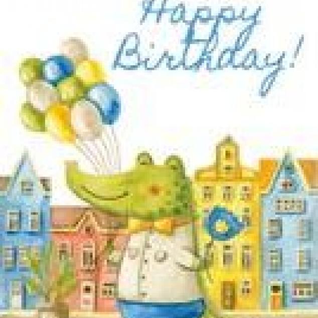 Ansichtkaart Happy Birthday Krokodil.