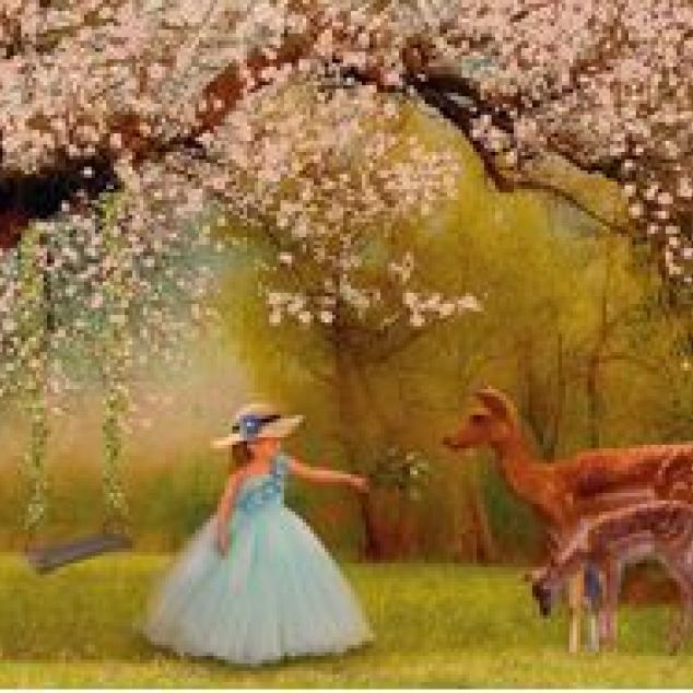 Ansichtkaart Met Bambi in het Bos.