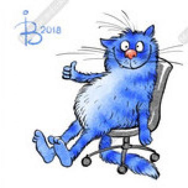 Ansichtkaart Blue Cat met een Like.