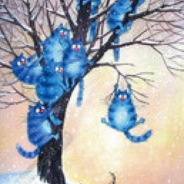 Ansichtkaart Blue Cat en de Honden Terror.