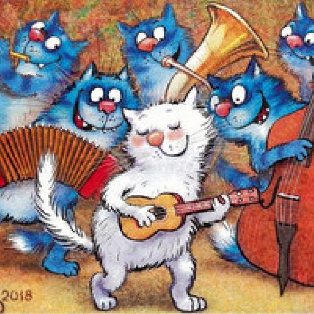 Ansichtkaart De Blue Cats geven een Feestje.