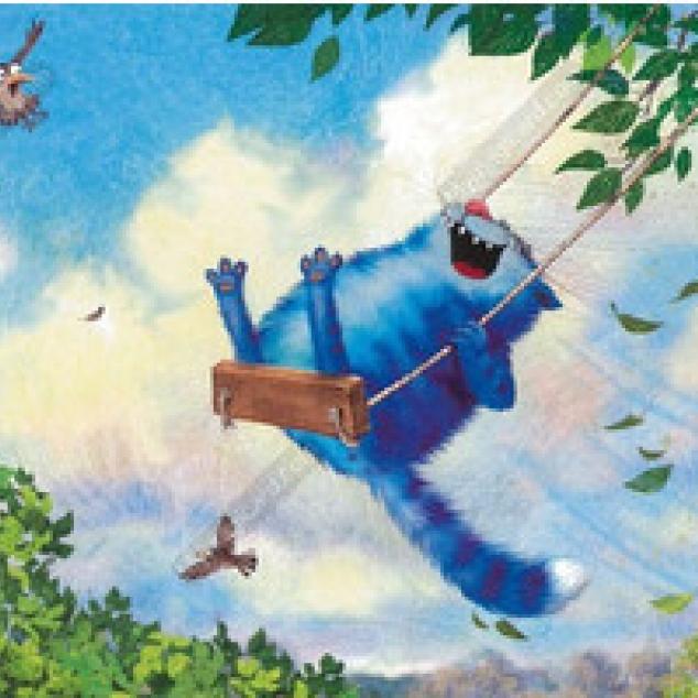 Ansichtkaart Blue Cat en Schommelheeeee