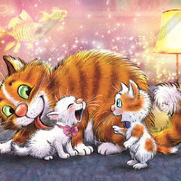 Ansichtkaart Tom Blue Cat en familie.