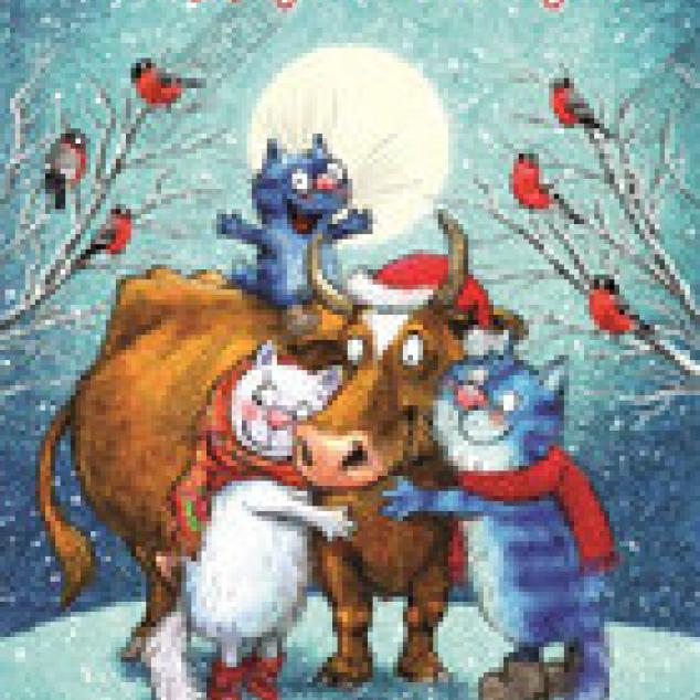 Ansichtkaart Blue Cat Wenst je Happy Holidays!