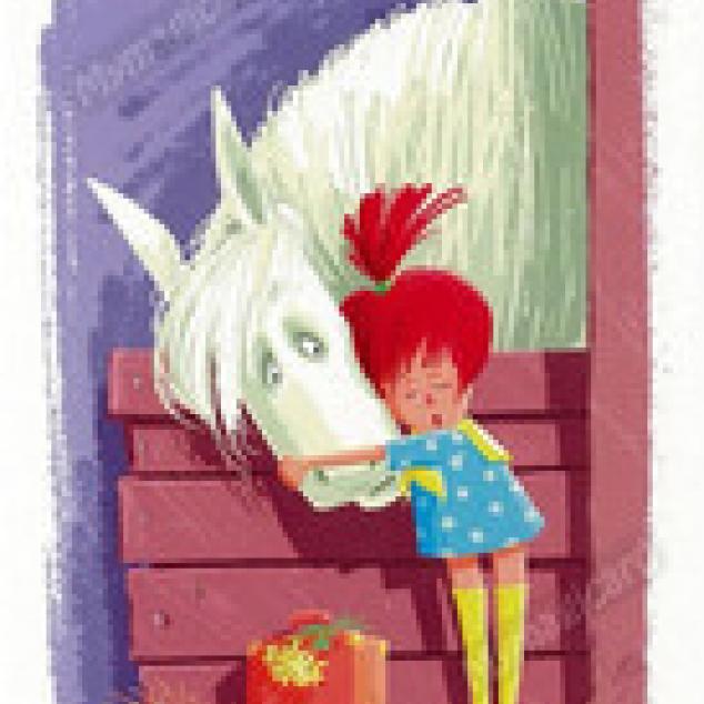 Ansichtkaart Pippi en Witje.