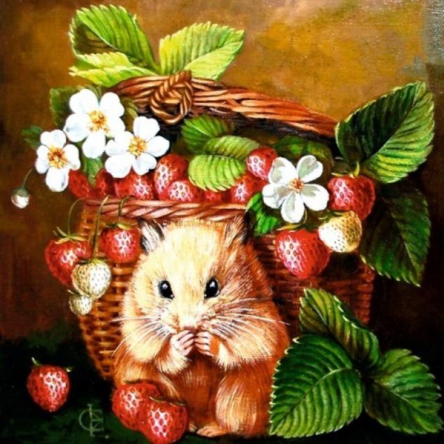Ansichtkaart Hamster met Wilde Aardbeitjes.