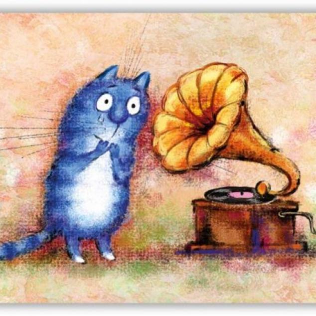 Ansichtkaart Blue Cat luistert muziek.