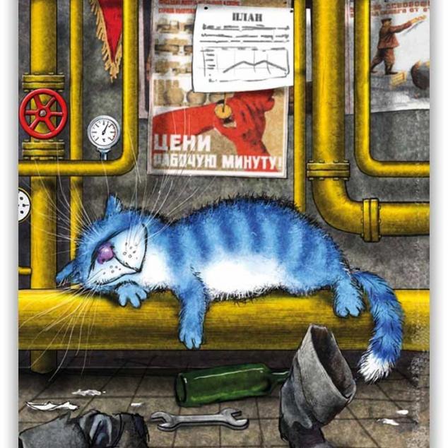 Ansichtkaart Blue Cat doet een tukkie op het werk.