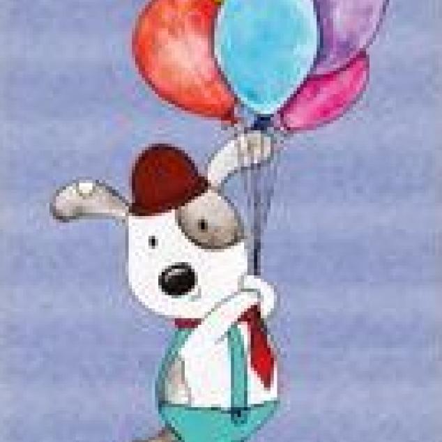 Ansichtkaart In de Lucht aan een bossie Ballonnen.