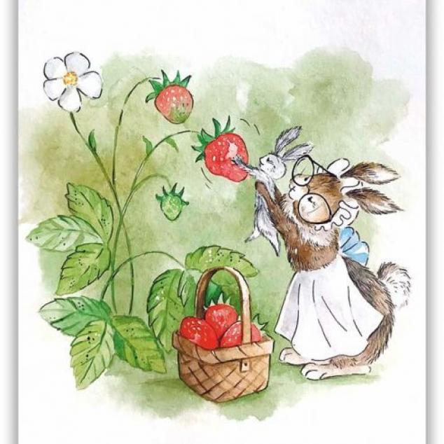 Ansichtkaart De Konijntjes plukken Aardbeien.