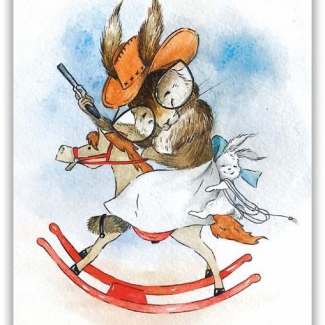 Ansichtkaart Konijnen Rodeo.