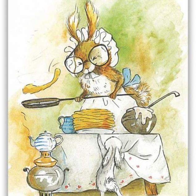 Ansichtkaart Mams Konijn bakt pannenkoeken.