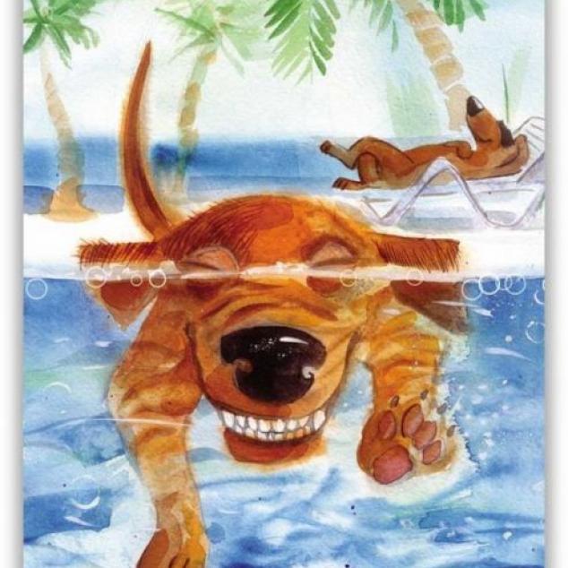 Ansichtkaart Takkie Teckel onder Water.