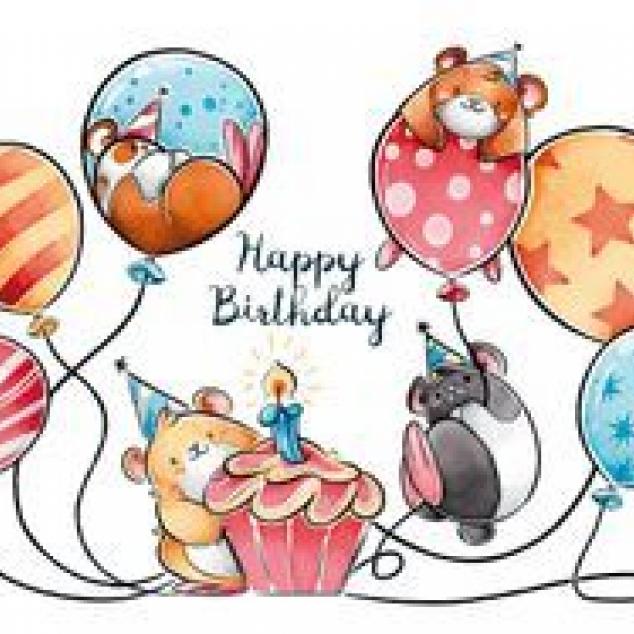 Ansichtkaart Happy Birthday met taart en ballonnen.