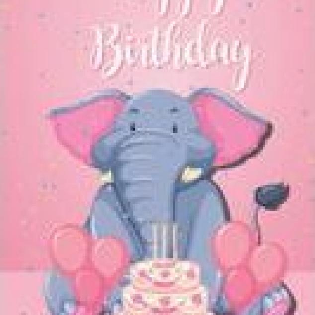 Ansichtkaart Happy Birthday met een Olifant van een Taart.