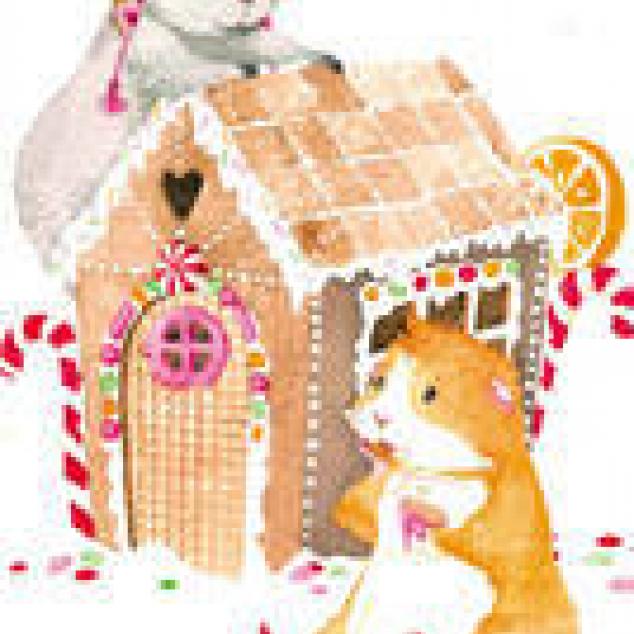 Ansichtkaart Hamsters en hun Peperkoekhuis.