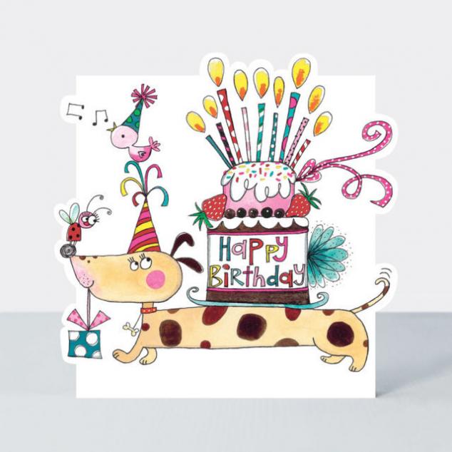 Wenskaart Happy Birthday met Teckel en Cake.