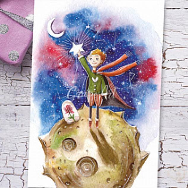 Ansichtkaart Kleine Prins op de Maan.