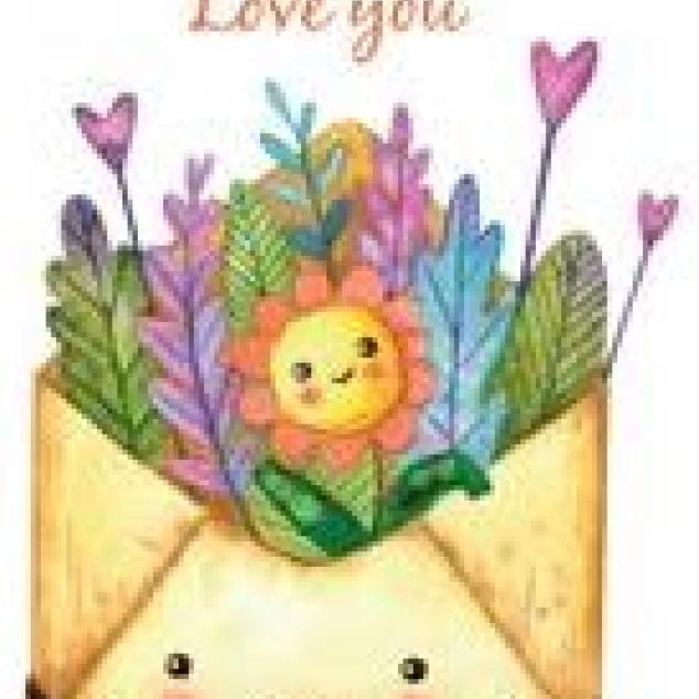Ansichtkaart Love You in een envelopje.