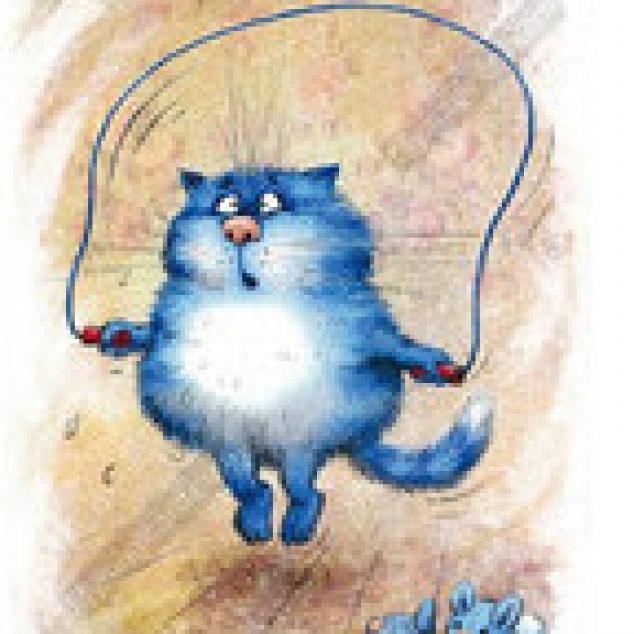 Ansichtkaart Blue Cat springt touwtje (ja Corona kilo's moeten eraf).