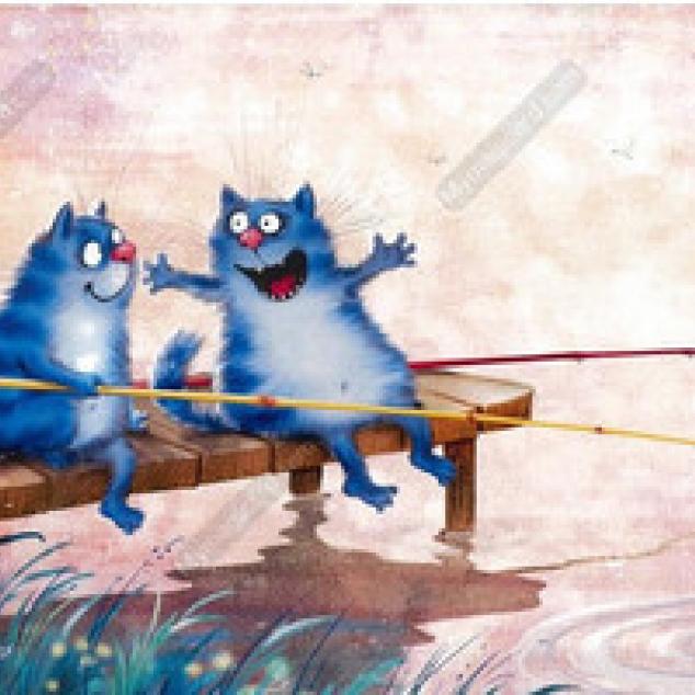 Ansichtkaart Blue Cat heeft ECHT zo'n grote vis gevangen, echt.