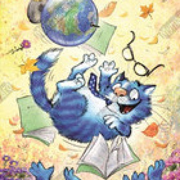 Ansichtkaart Hoeraaaa Blue Cat is geslaagd.