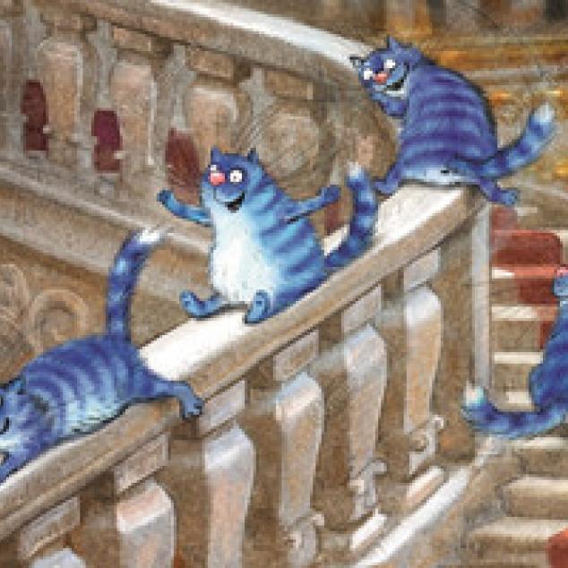 Ansichtkaart De Blue Cats roetsjen van de trapleuning.