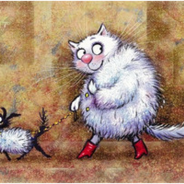Ansichtkaart mevrouw Blue Cat op stap met haar doggie.