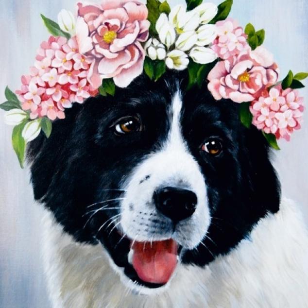 Ansichtkaart Hond met bloemetjeskrans.