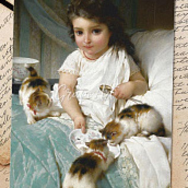 Ansichtkaart met de Kittens op Bed.