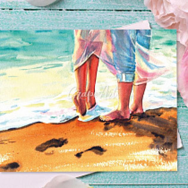 Ansichtkaart, Samen op blote voeten in de Zee.